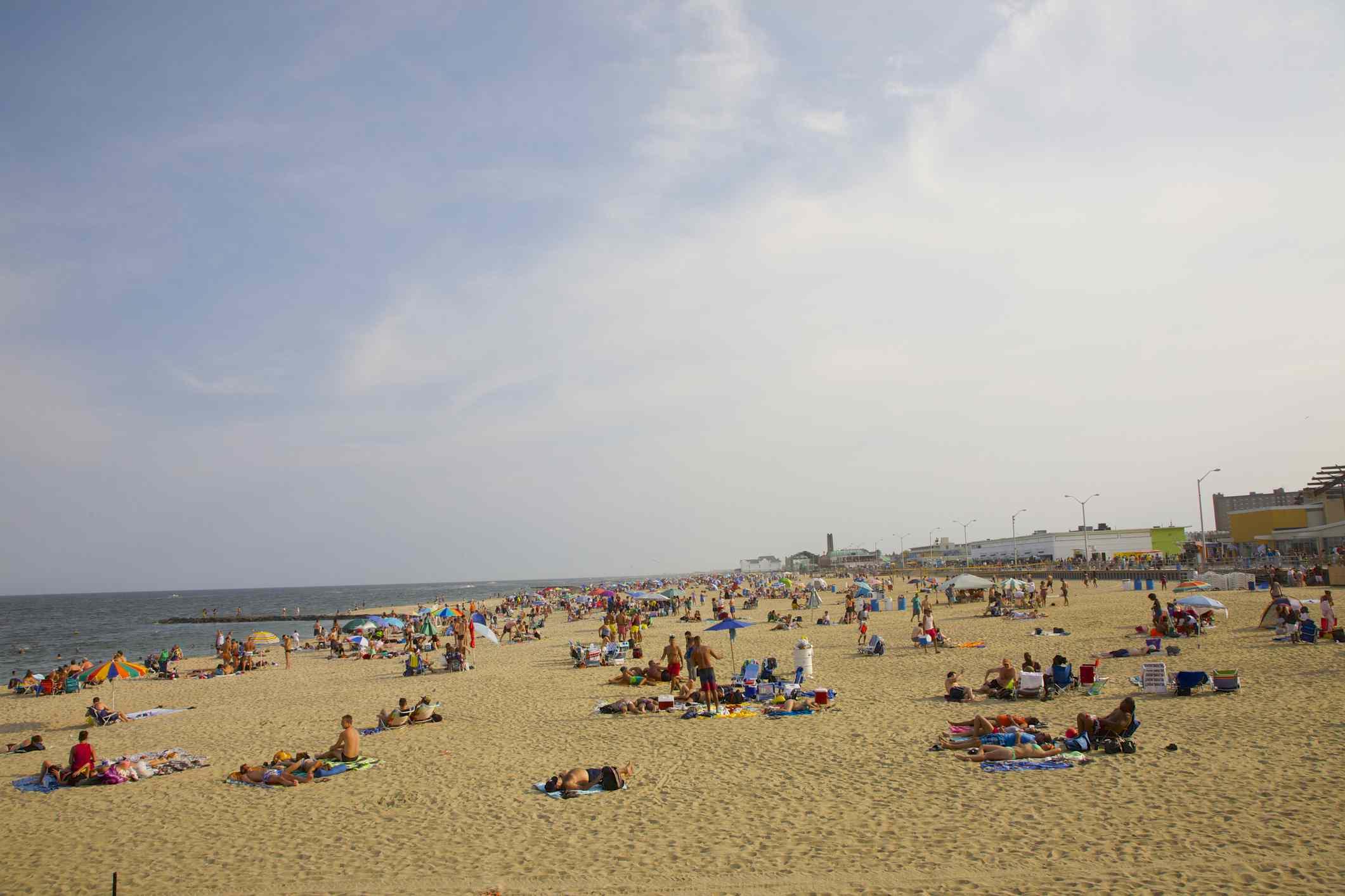People on Asbury Park beach, NJ