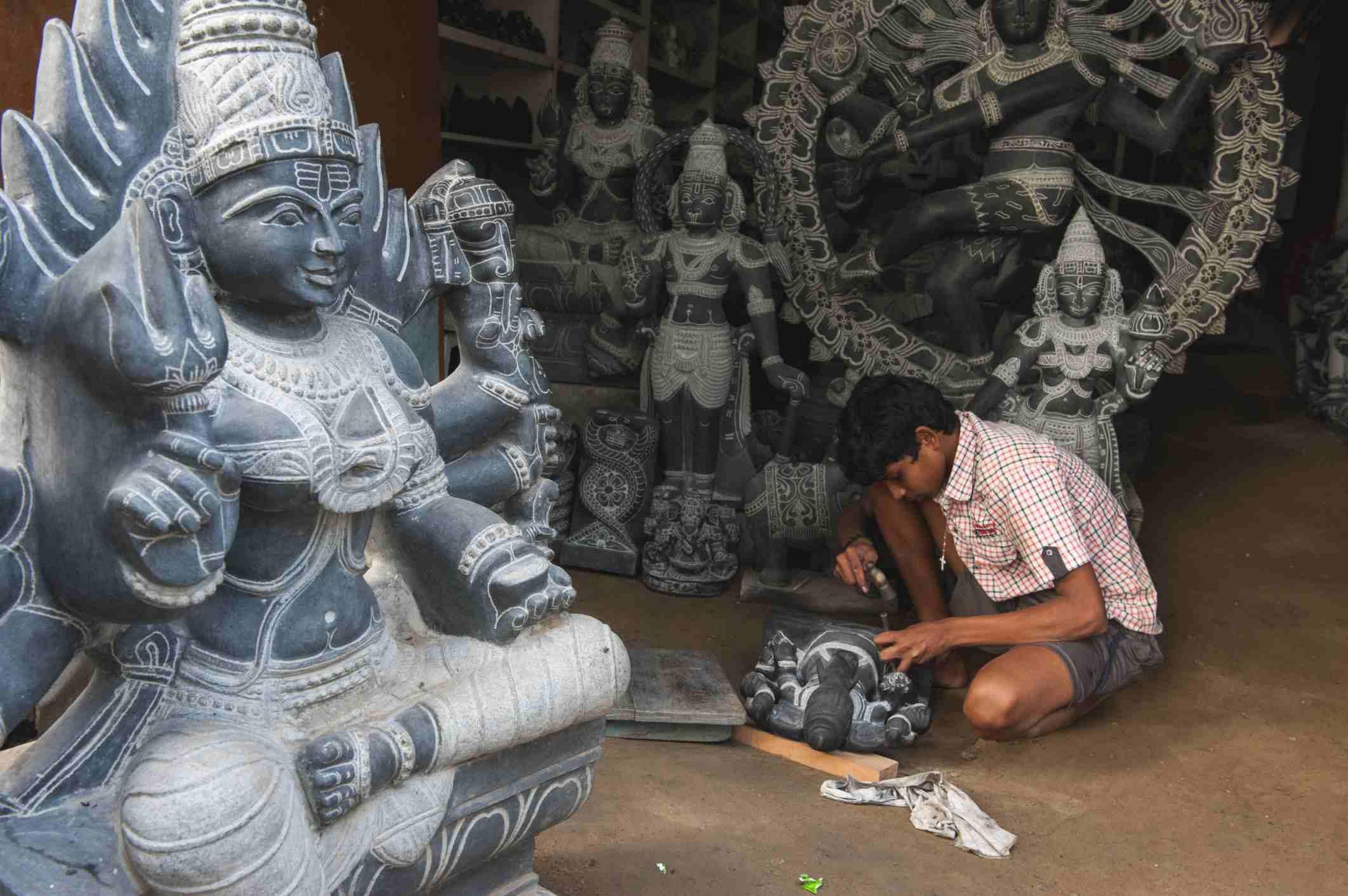 Stone carving in Mahabalipuram.