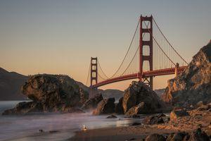 The Golden Gate Bridge, shot from Marshall's Beach at Sunset.