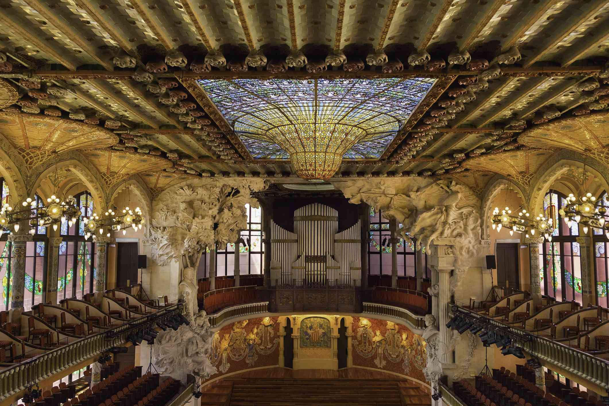 Interior of Concert Hall, Palau de la Musica Catalana, Barcelona