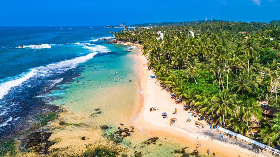 Aerial view of one of the best beaches in Sri Lanka