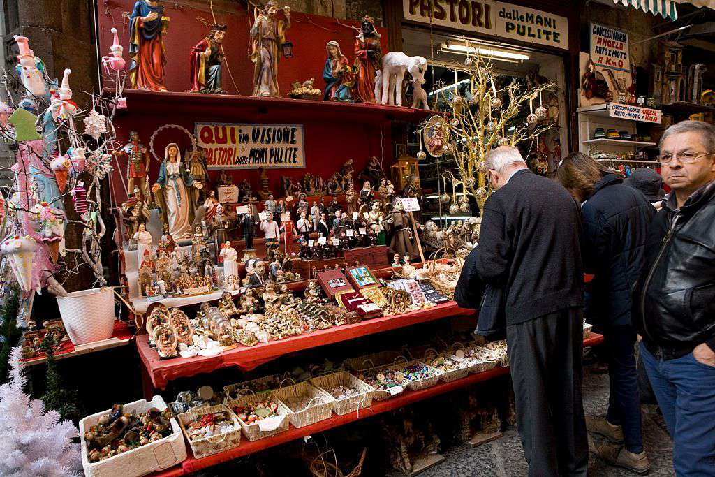 Christmas figurines for sale on Via San Gregorio Armeno, Naples