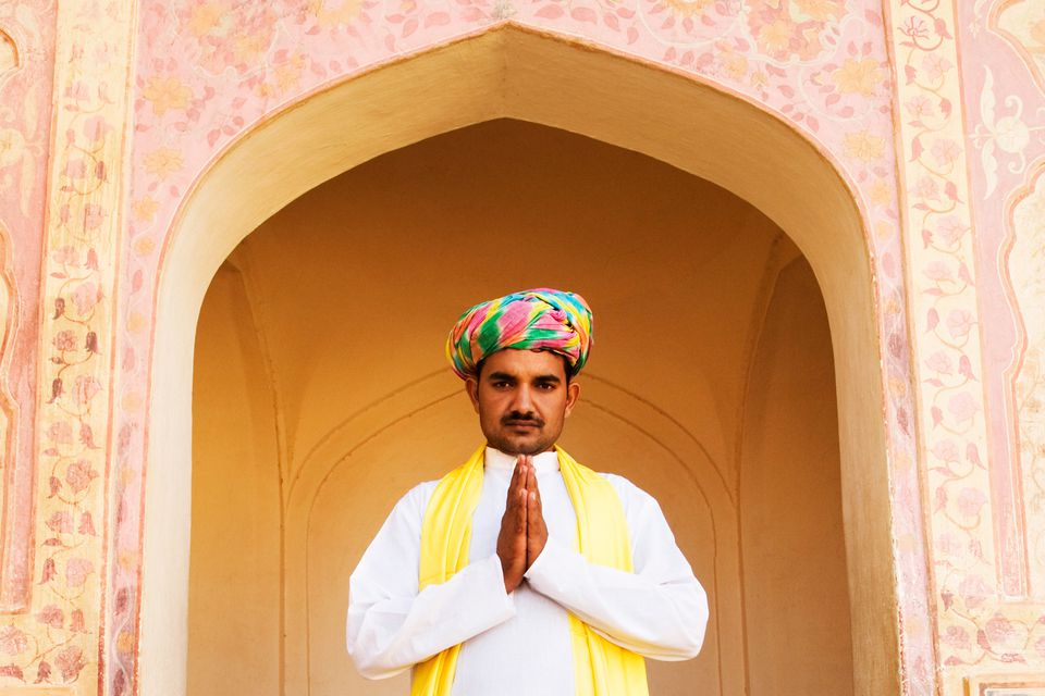 Indian man demonstrating Namaste prayer hands