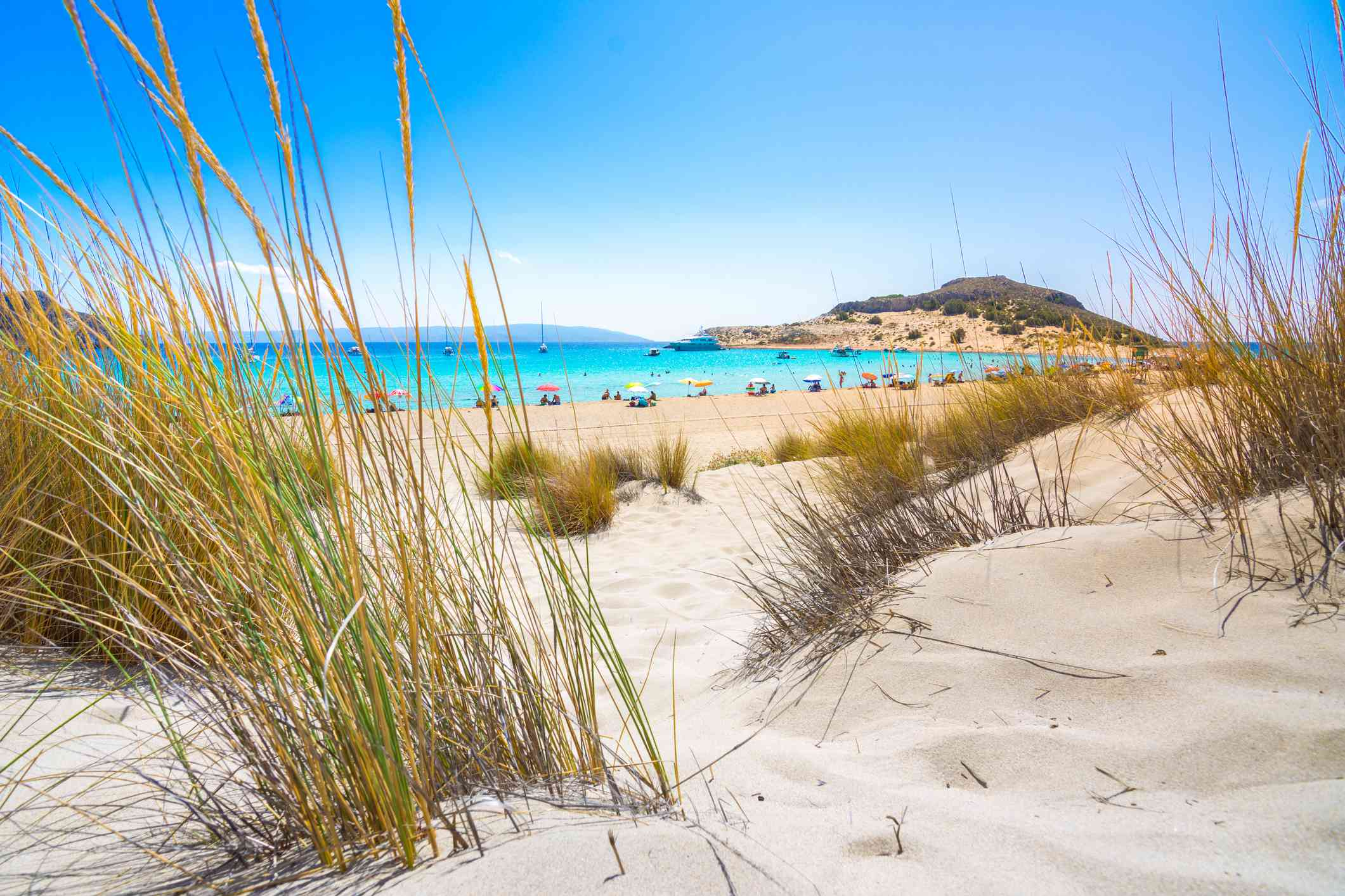 Amazing tropical sandy beach of Simos on Elafonissos island, Peloponnese, Greece.