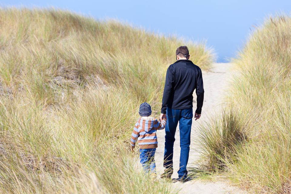 Dad and child on Oregon Dunes