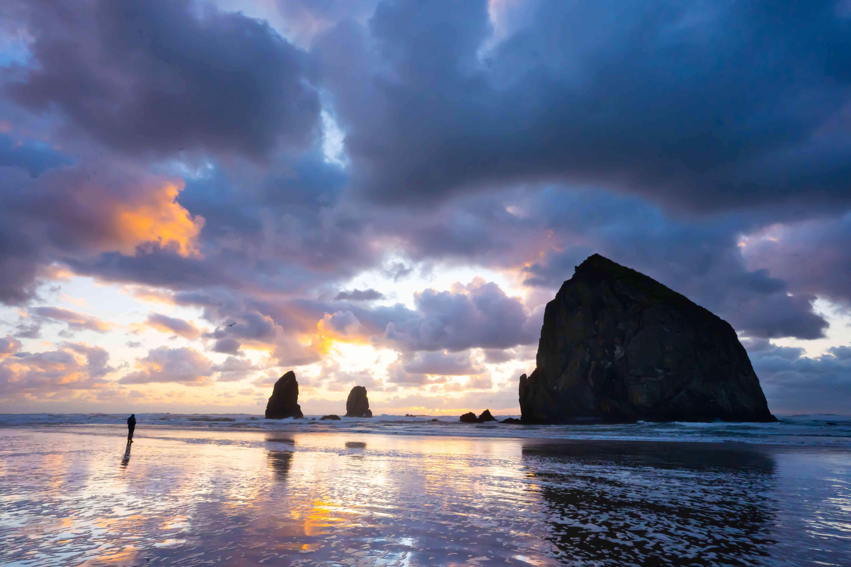 Haystack Rock during sunset