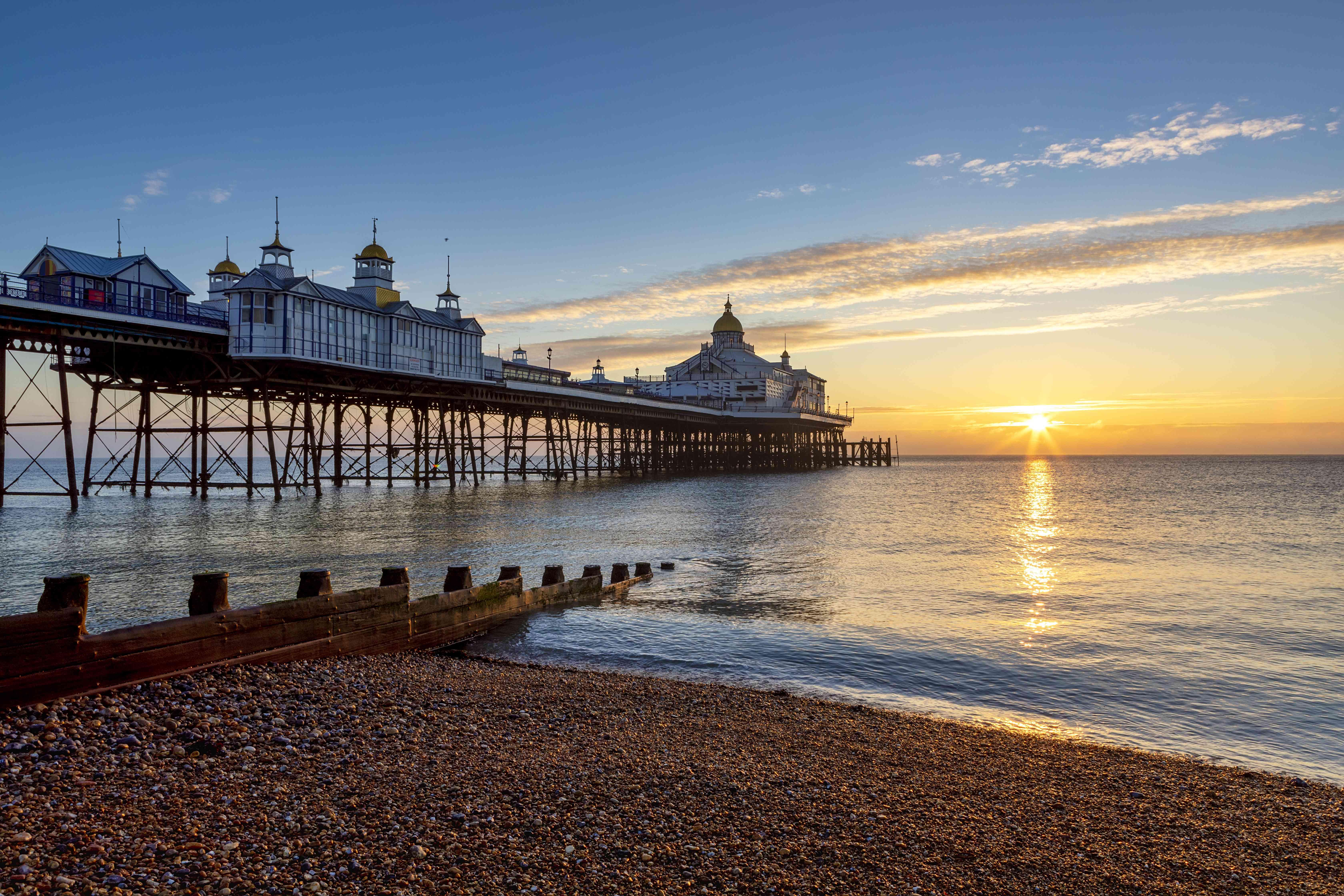 Eastbourne Pier at sunrise.