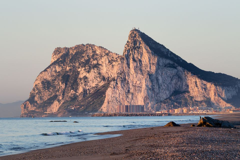 The Rock of Gibraltar, seen from the beach