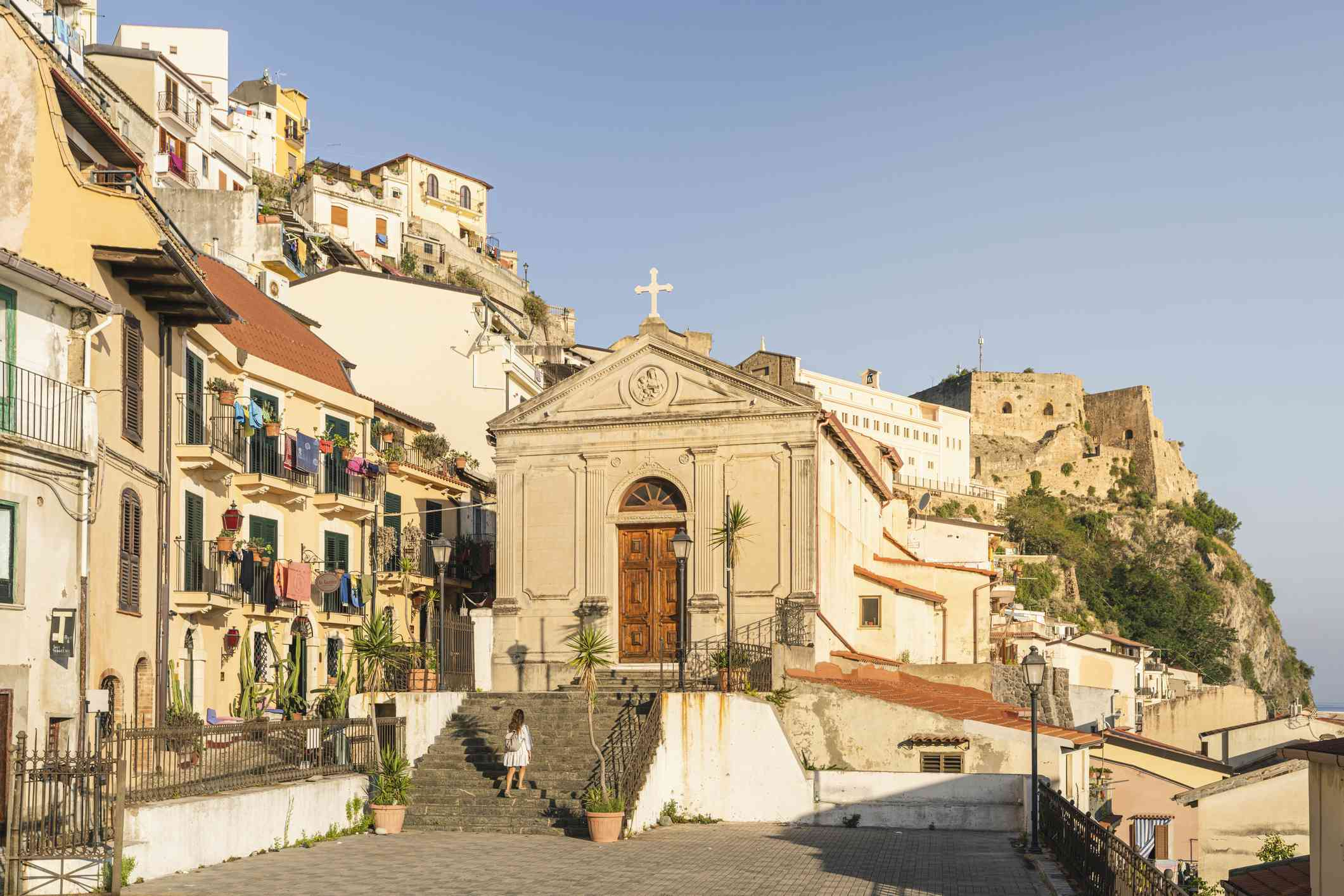 Woman visiting the old town of Scilla, Calabria, Italy.