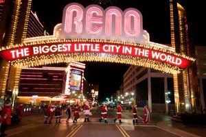 Santa Pub Crawl under Reno Sign