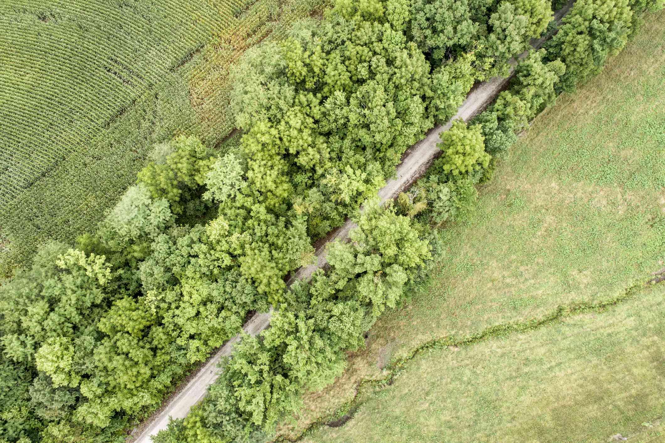 recreational Katy Trail in MIssouri - aerial view