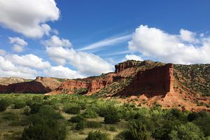 Scenic View Of Rock Formation At Caprock Canyons State Park Against Sky