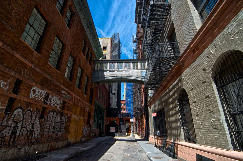 Alley Street scene, Historic Tribeca, Lower Manhattan, New York City