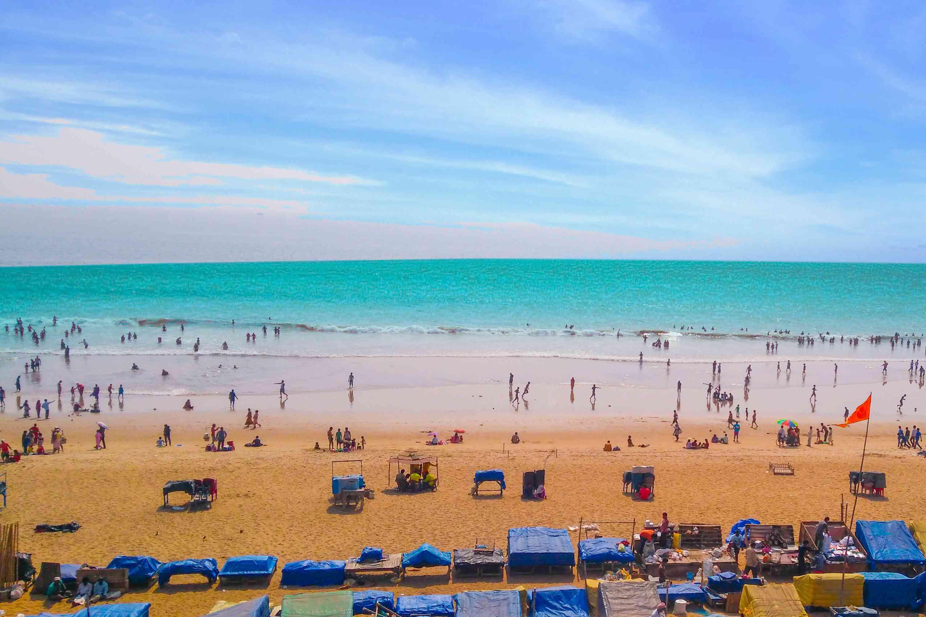 Golden Beach in Puri, Odisha.