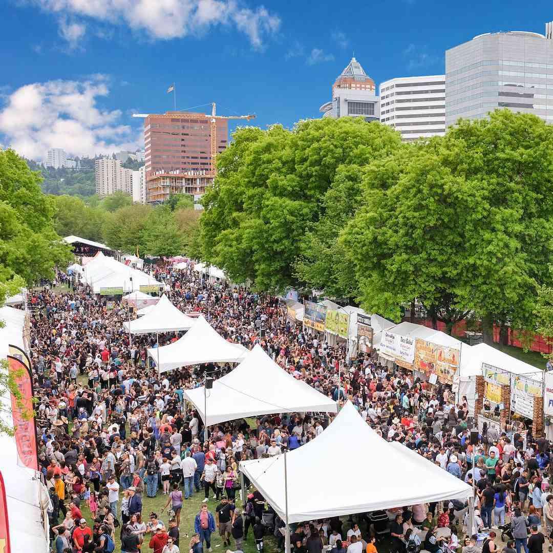 Cinco de Mayo celebrations with Portland skyline