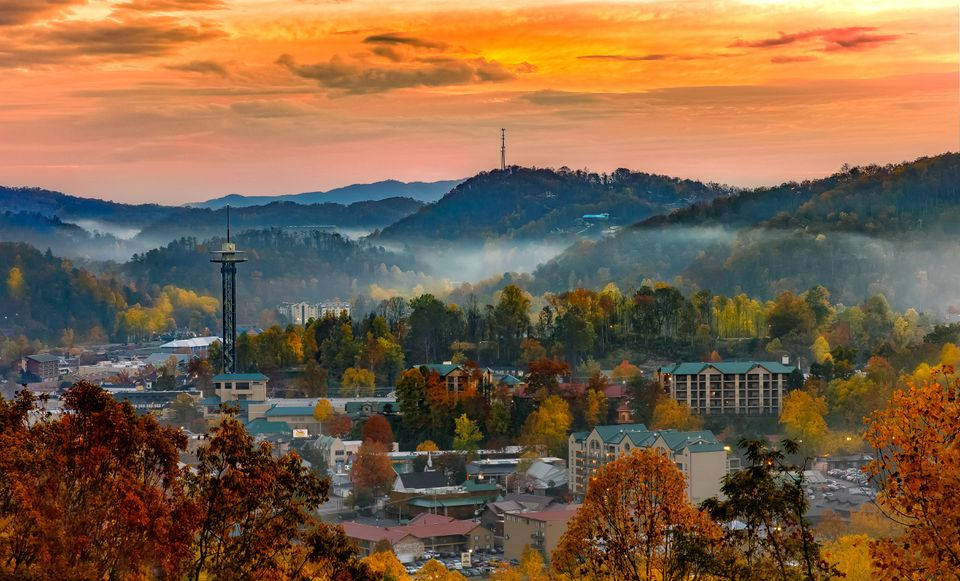 Gatlinburg, Tennessee, at sunset in fall