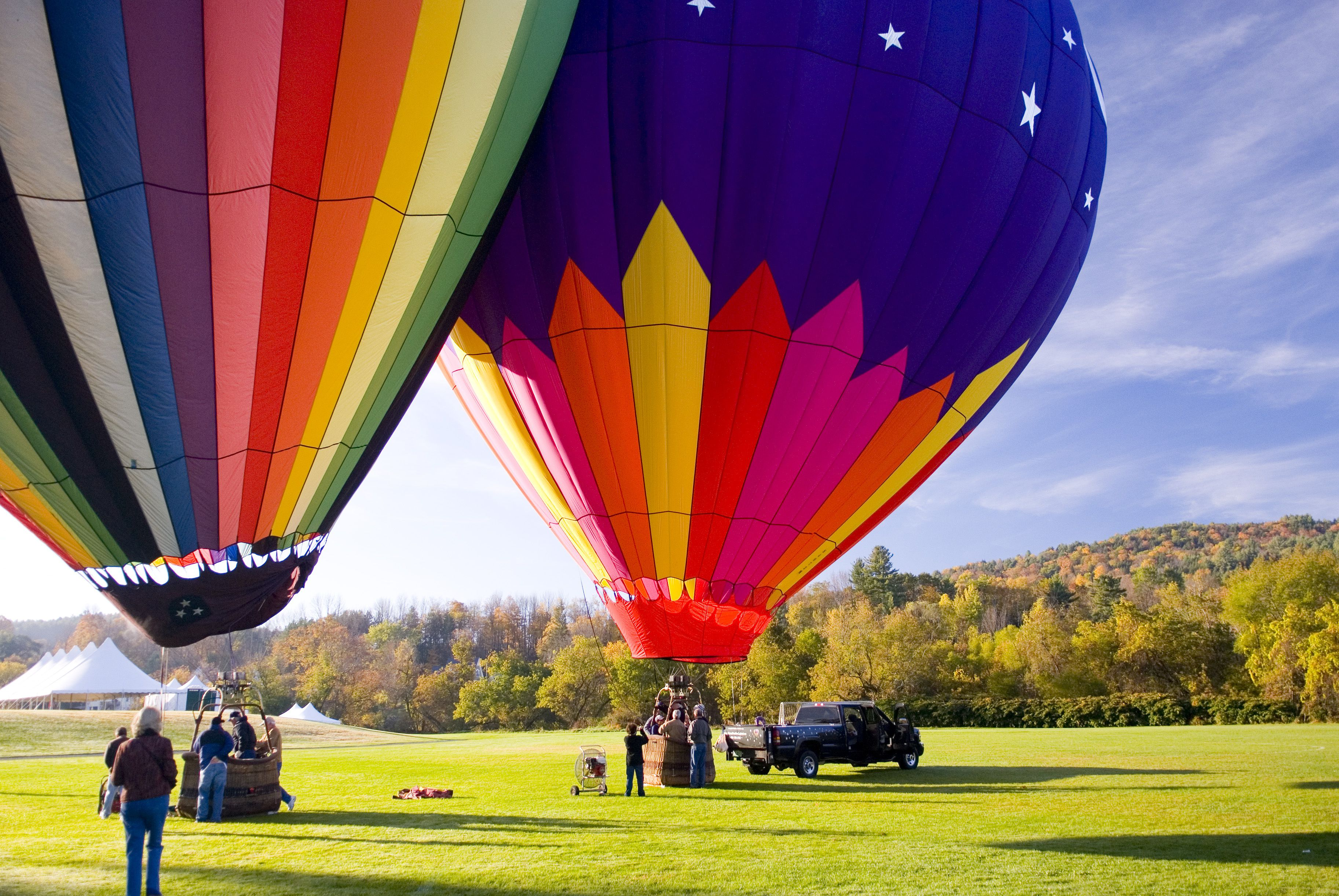 Hot air ballooning. Quechee, Vermont. USA