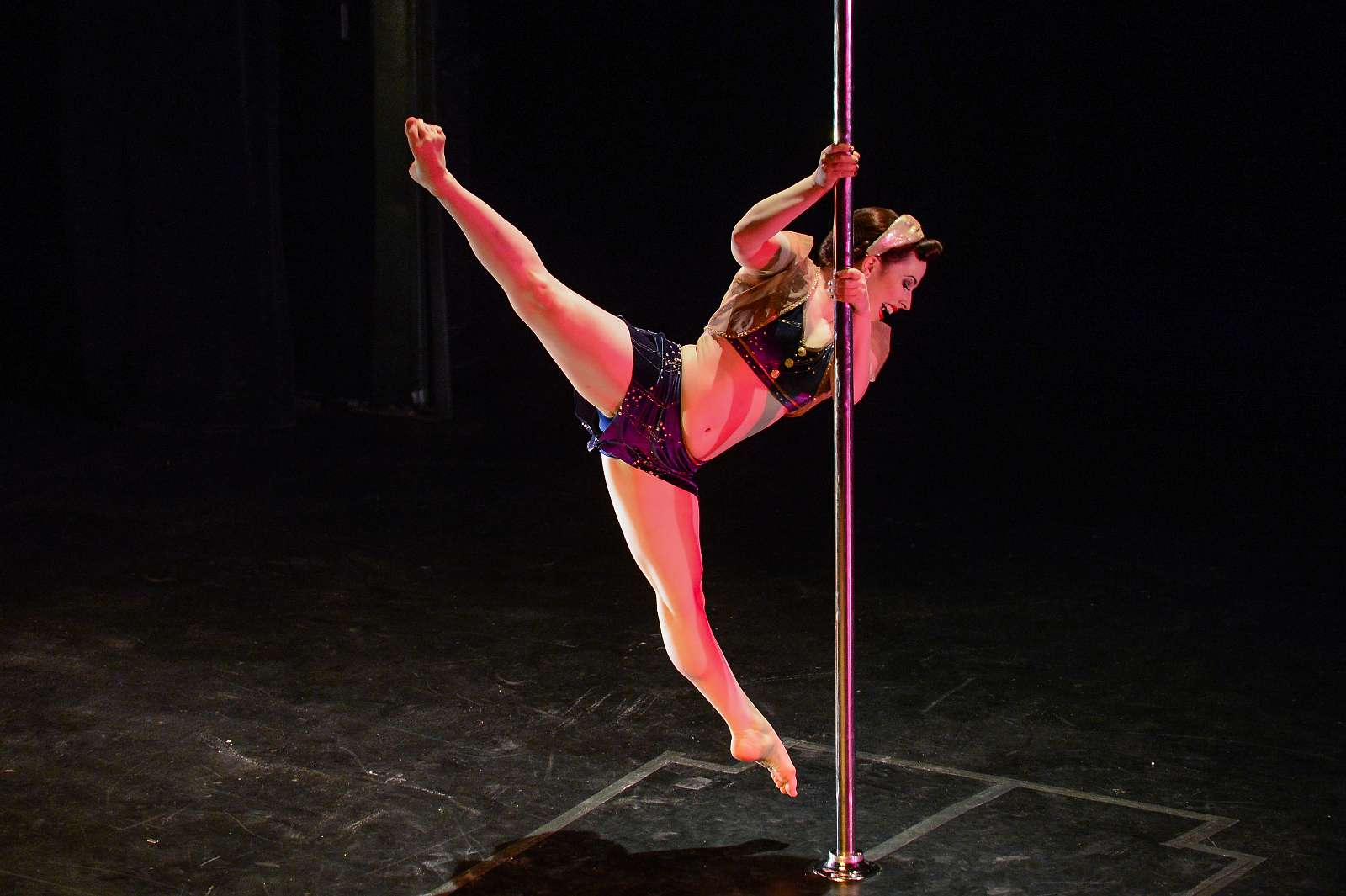 Pole athlete Ivory Fox performing on February 7, 2015 at the U.S. Aerial Championship at Rose Nagelberg Theater in New York City.