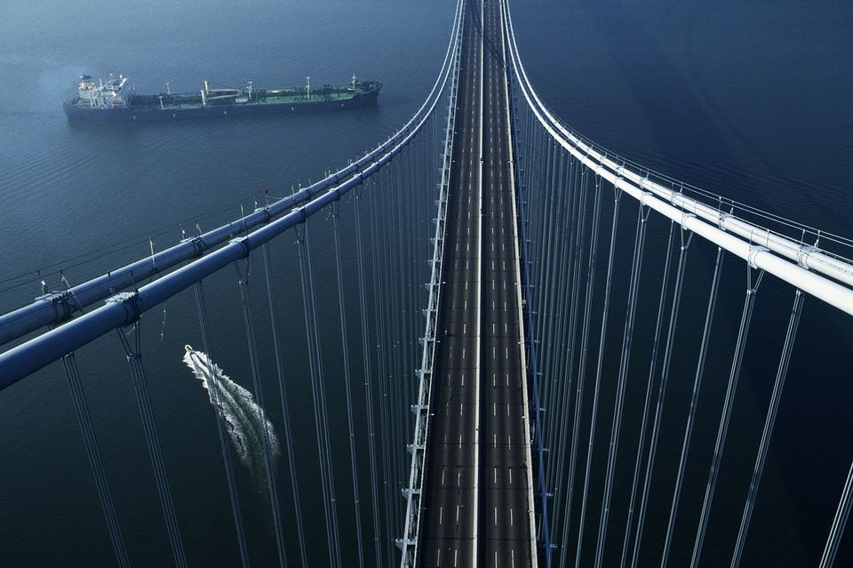OVERHEAD OF THE VERRANZANO BRIDGE IN NEW YORK CITY