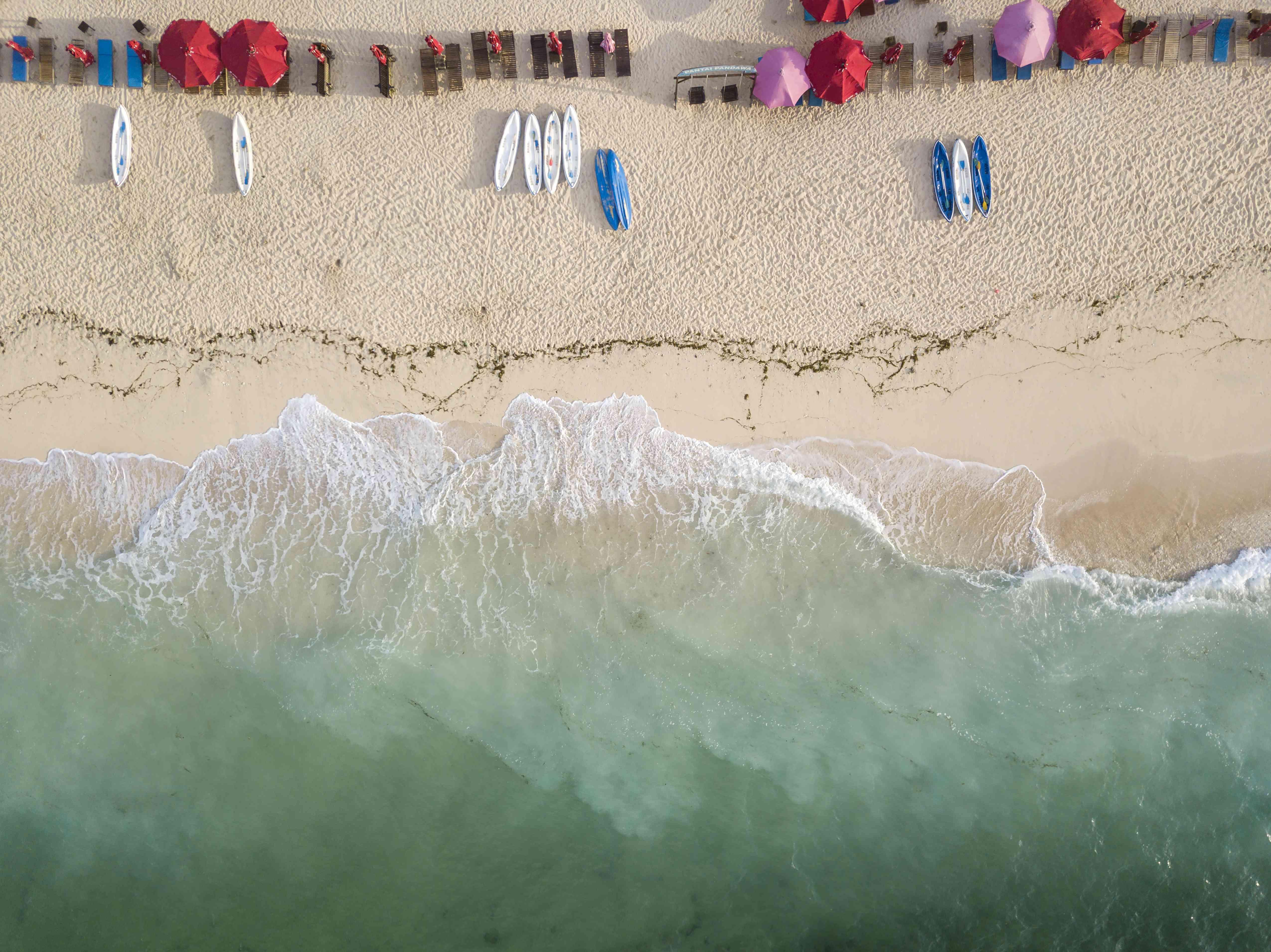 Indonesia, Bali, Aerial view of Pandawa beach