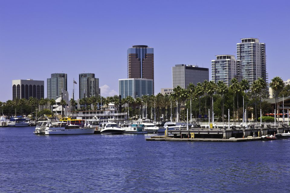 Long Beach Harbor with skyline