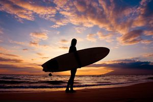 Surfer silhouette in Hawaii