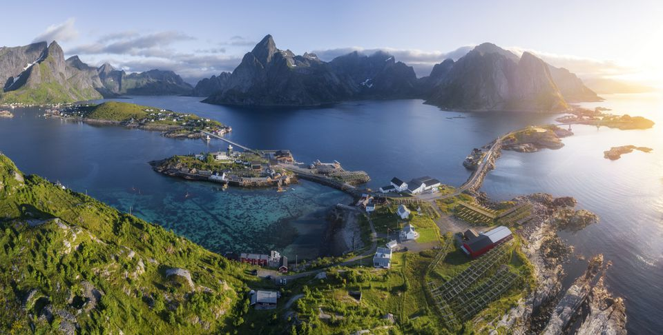 Aerial Panorama of Lofoten in Summer, Norway