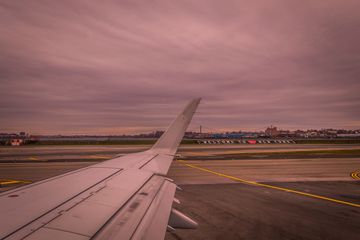 On the plane at LaGuardia Airport New York