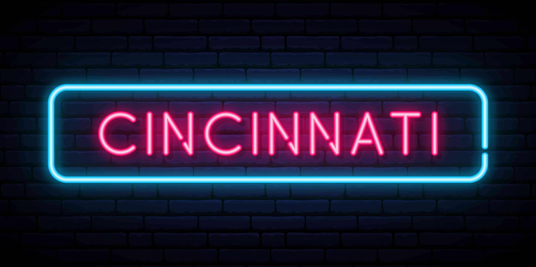 Cincinnati neon sign. Bright light signboard. Vector banner.