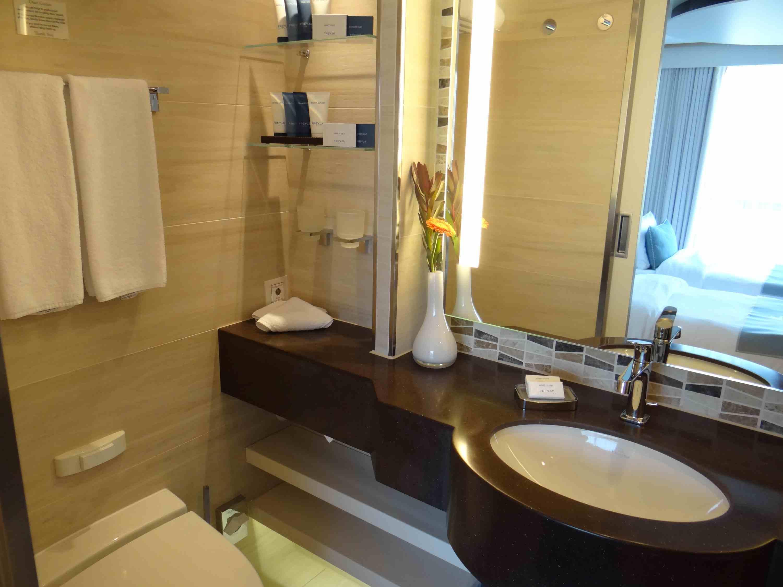 Bathroom vanity in Veranda Suite on Viking Elbe River cruise ships
