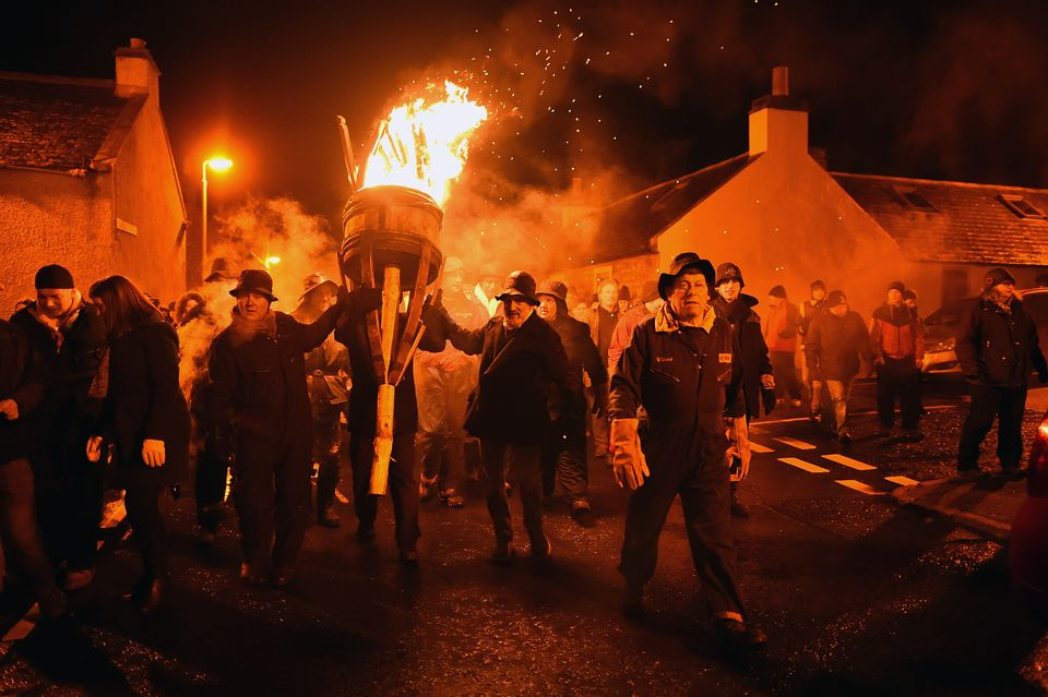 The New Year Is Greeted With The Traditional Burning Of The Clavie