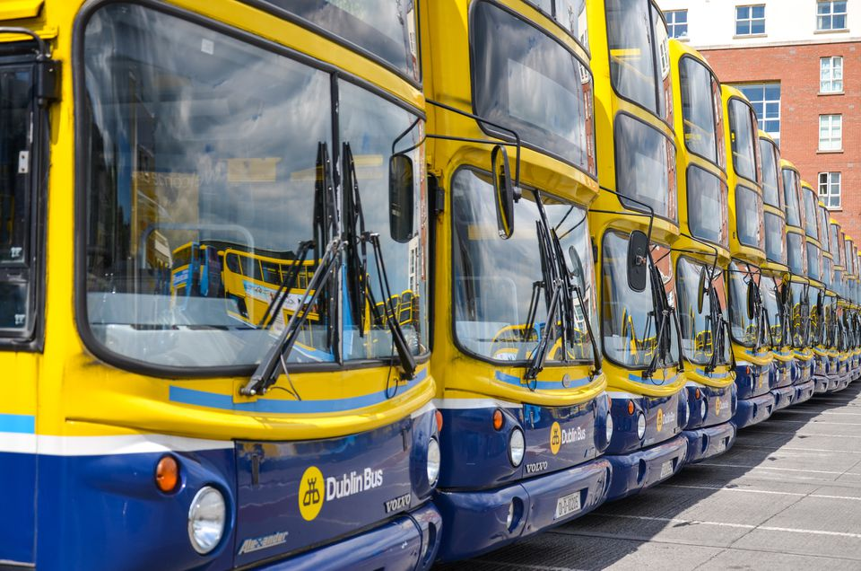 Dublin Bus buses parked in a line at the bus depot