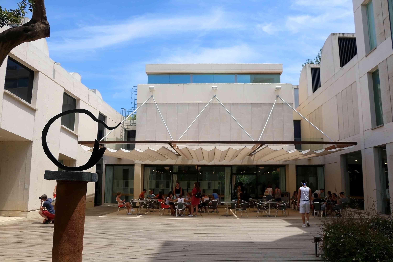 Visitors at Joan Miró Foundation (Fundació Joan Miró), a museum of modern art honoring artist Joan Miró, located on the hill Montjuïc in Barcelona, Spain.