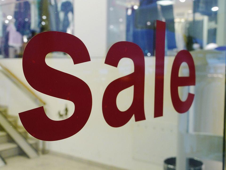Sale sign on shop window
