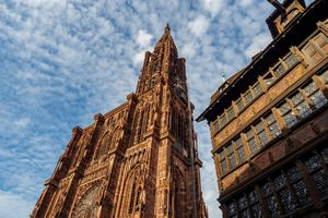 The majestic and unique cathedral of Strasbourg. France