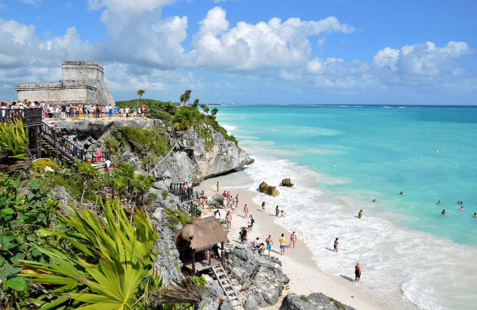 Beach And Ruins In Tulum Mexico