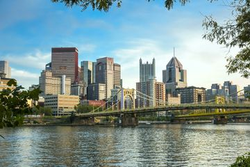 Pittsburgh skyline close up with 'Rachel Carson bridge'