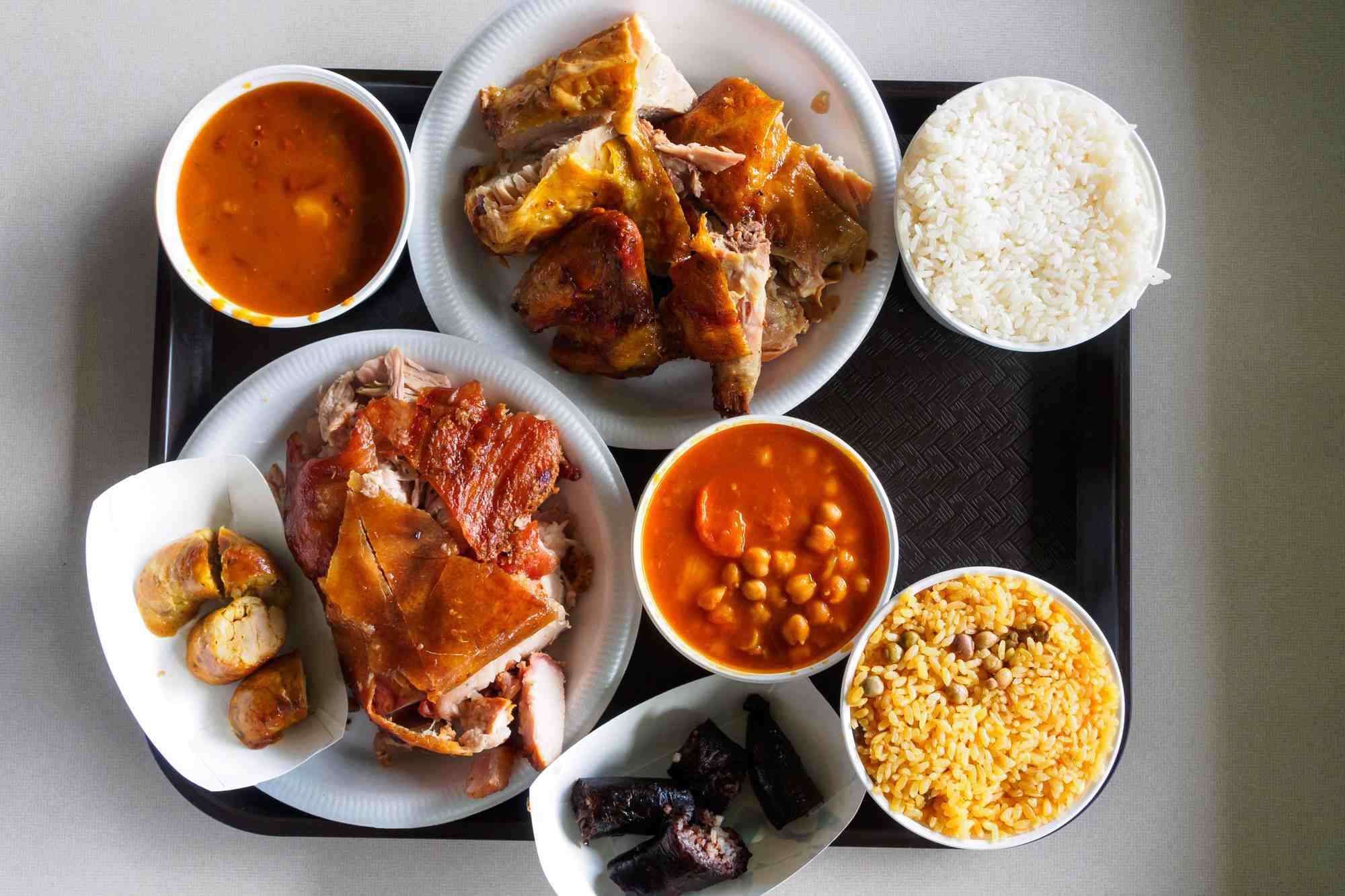 Platter of food at the lechoneras of Guavate