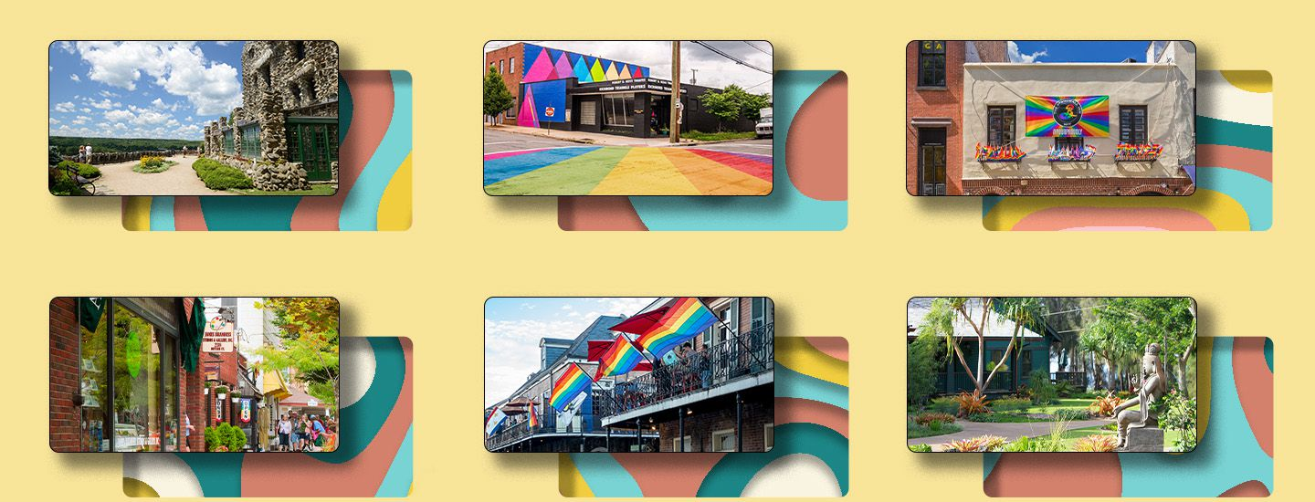 Collage of photos of locations included in article over a colorful background