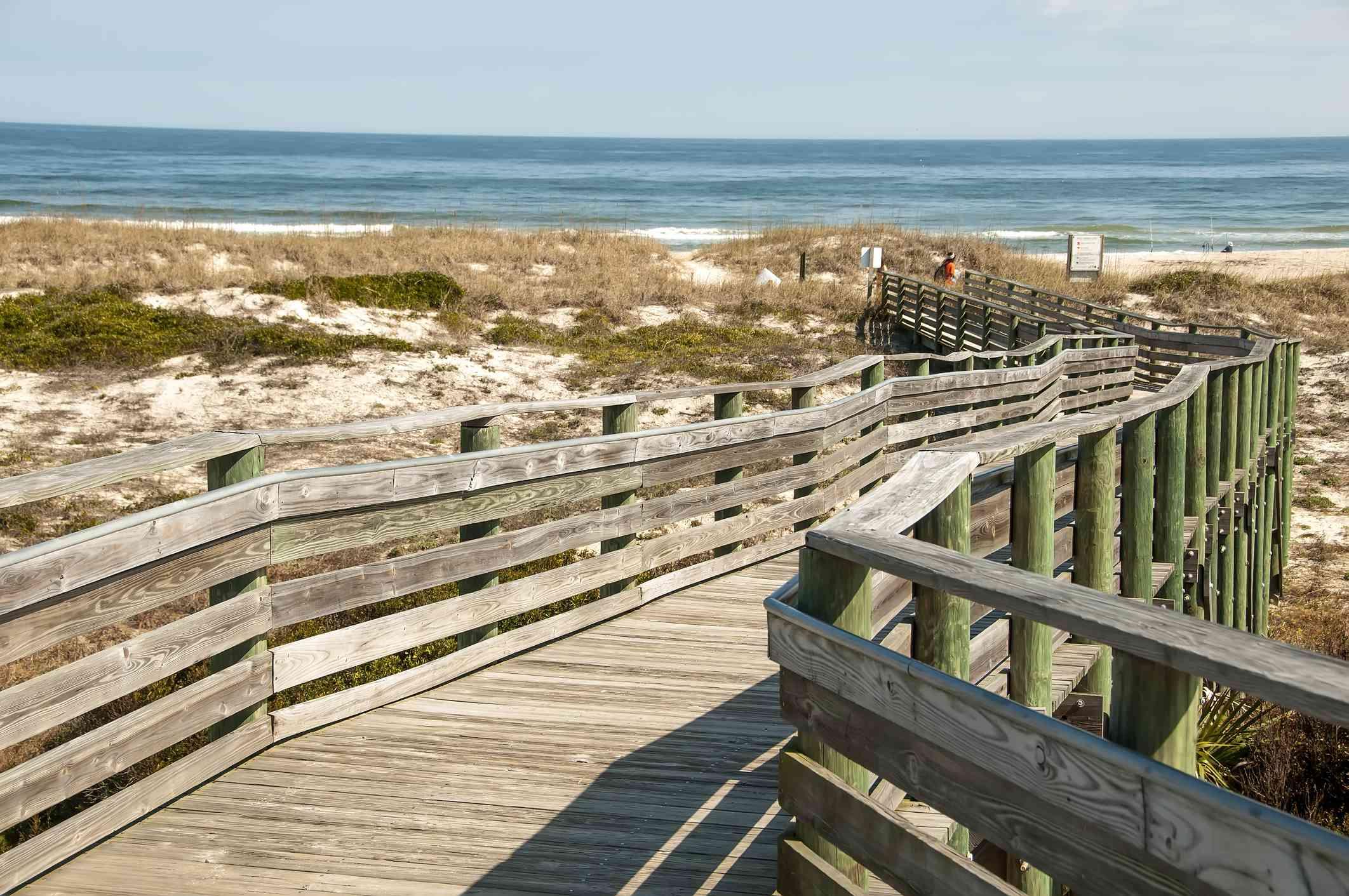 A boardwalk at Historic American Beach in Amelia Island, Florida