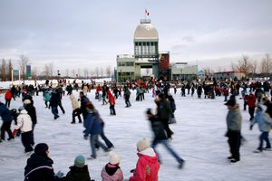 People ice-skating at Parc du Bassin Bonsecours. Montreal, Quebec, Canada, North America