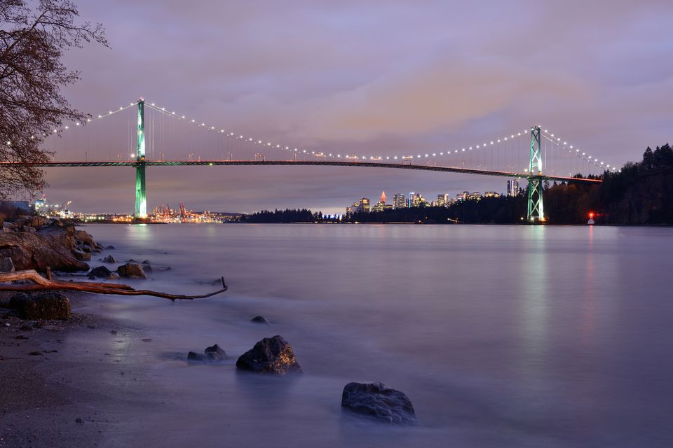 Lions Gate Bridge at night, Vancouver
