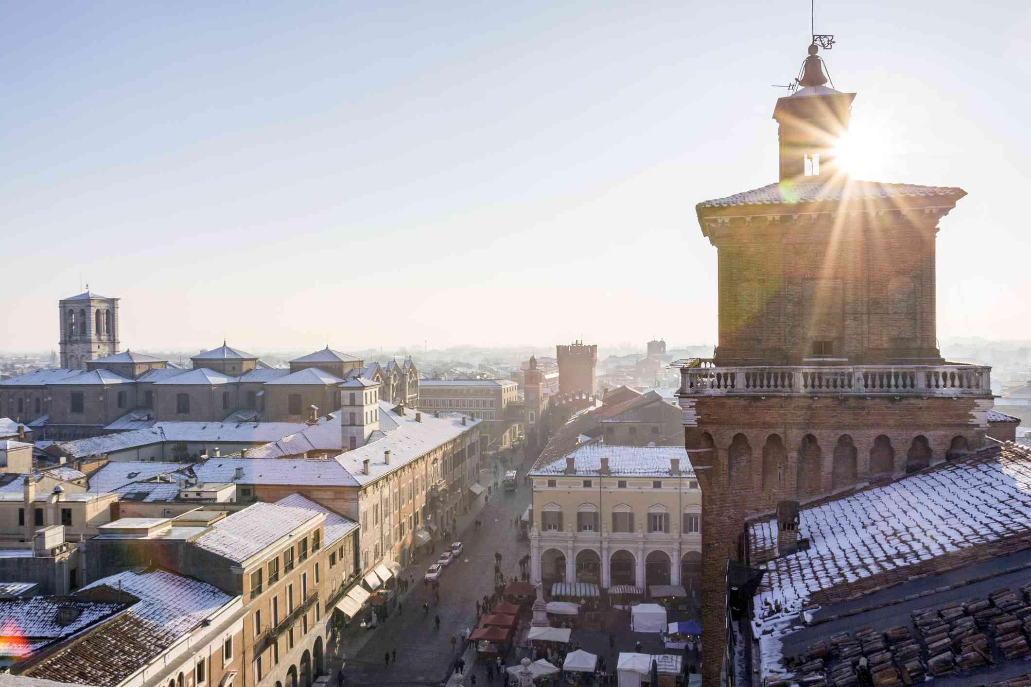 Ferrara, rooftops with winter snow