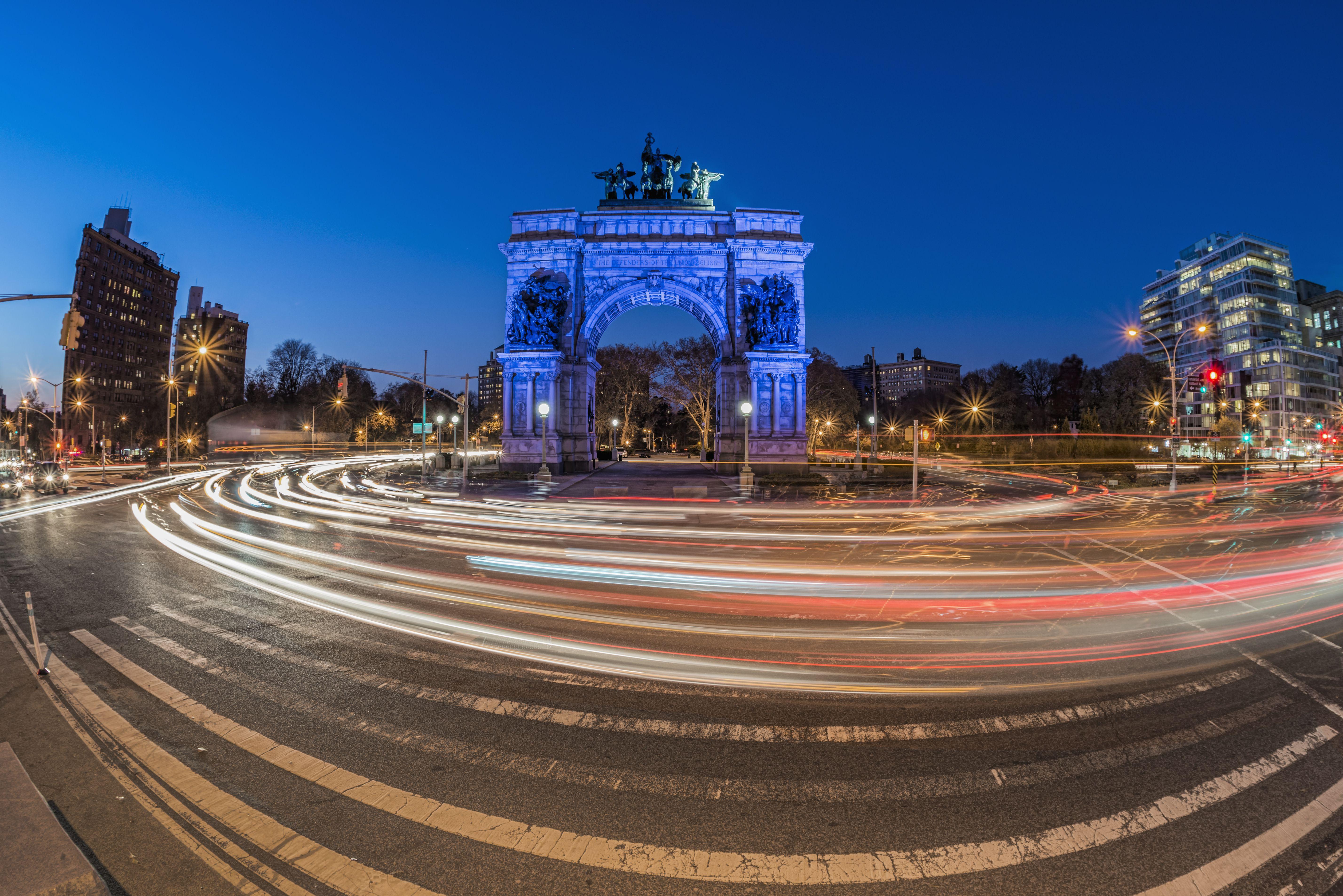 Grand Army Plaza at twilight