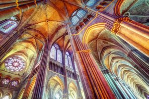 Interior of the cathedral Notre Dame of Reims