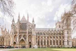 Side of Westminster Abbey in London