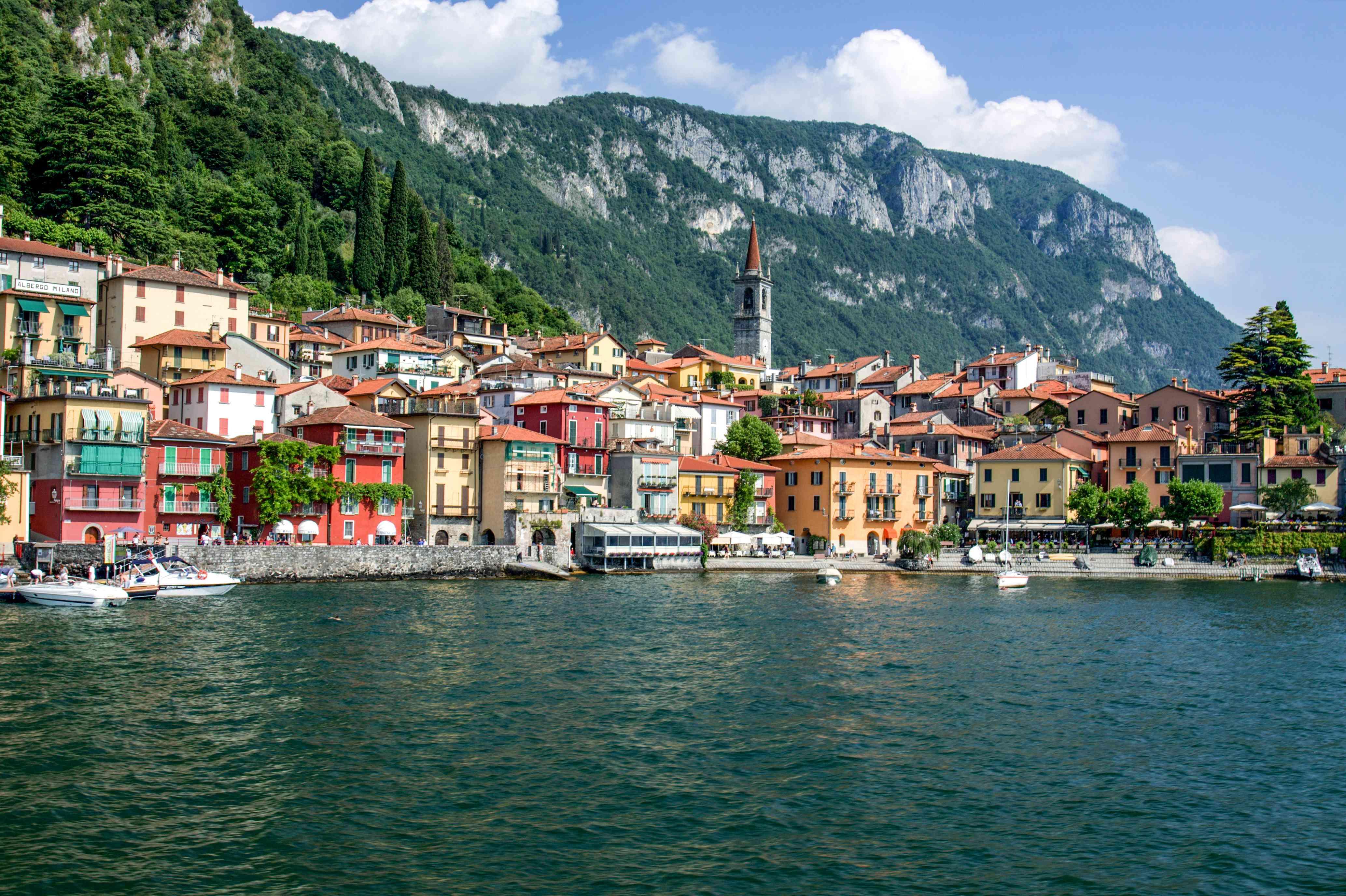 Shot of Varenna along the coast of Lake Como