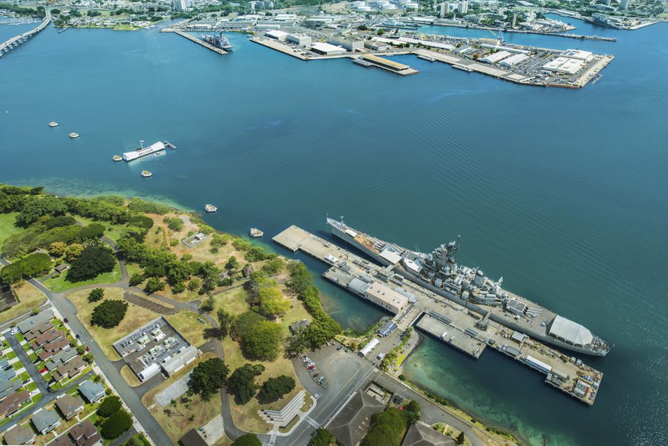 Aerial view of Arizona Memorial and Mighty Mo Missouri battleship at Pearl Harbor, Honolulu, Hawaii, USA