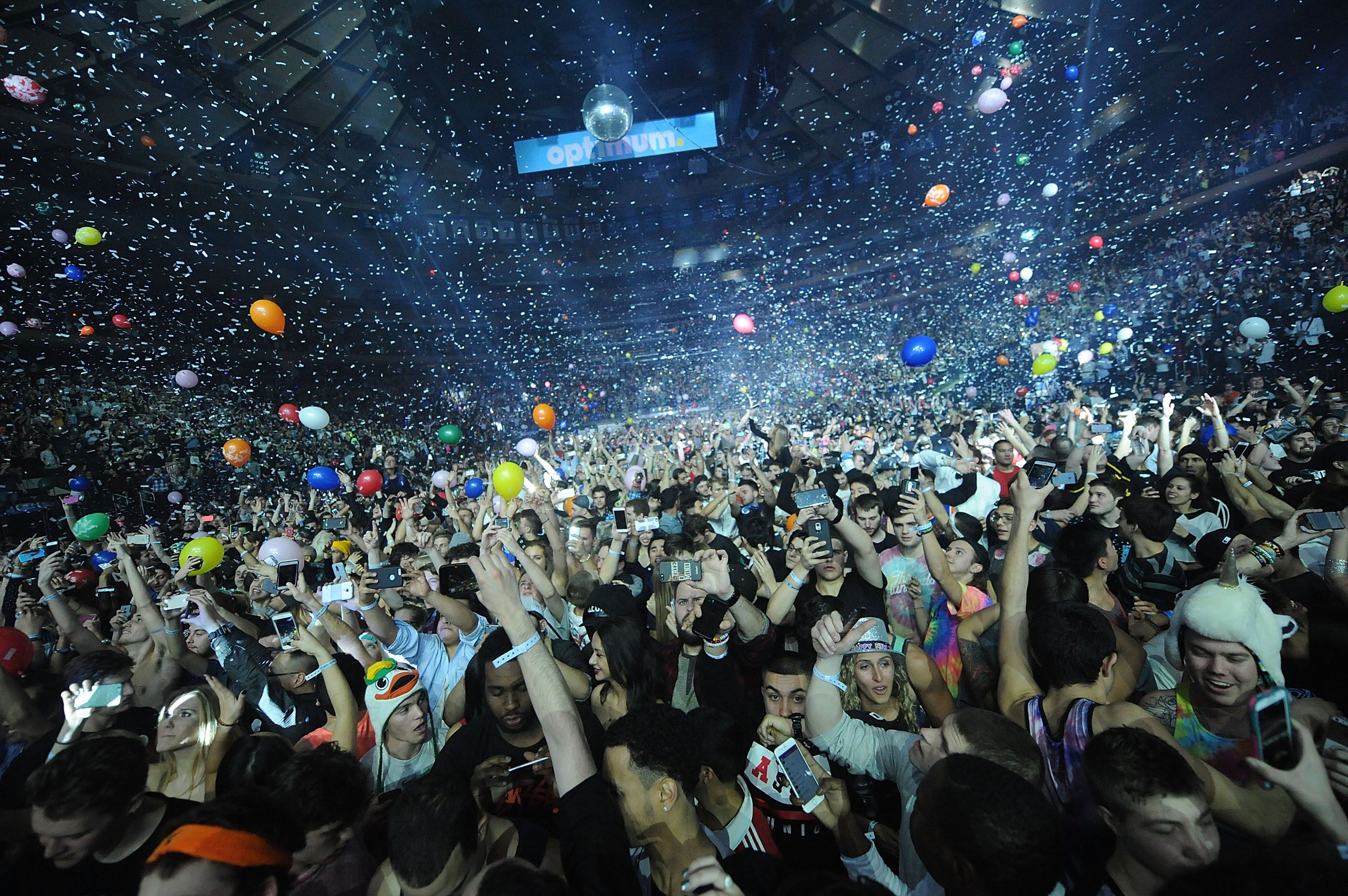 Skrillex + Diplo In Concert - Concert goers celebrate the New Year at Madison Square Garden