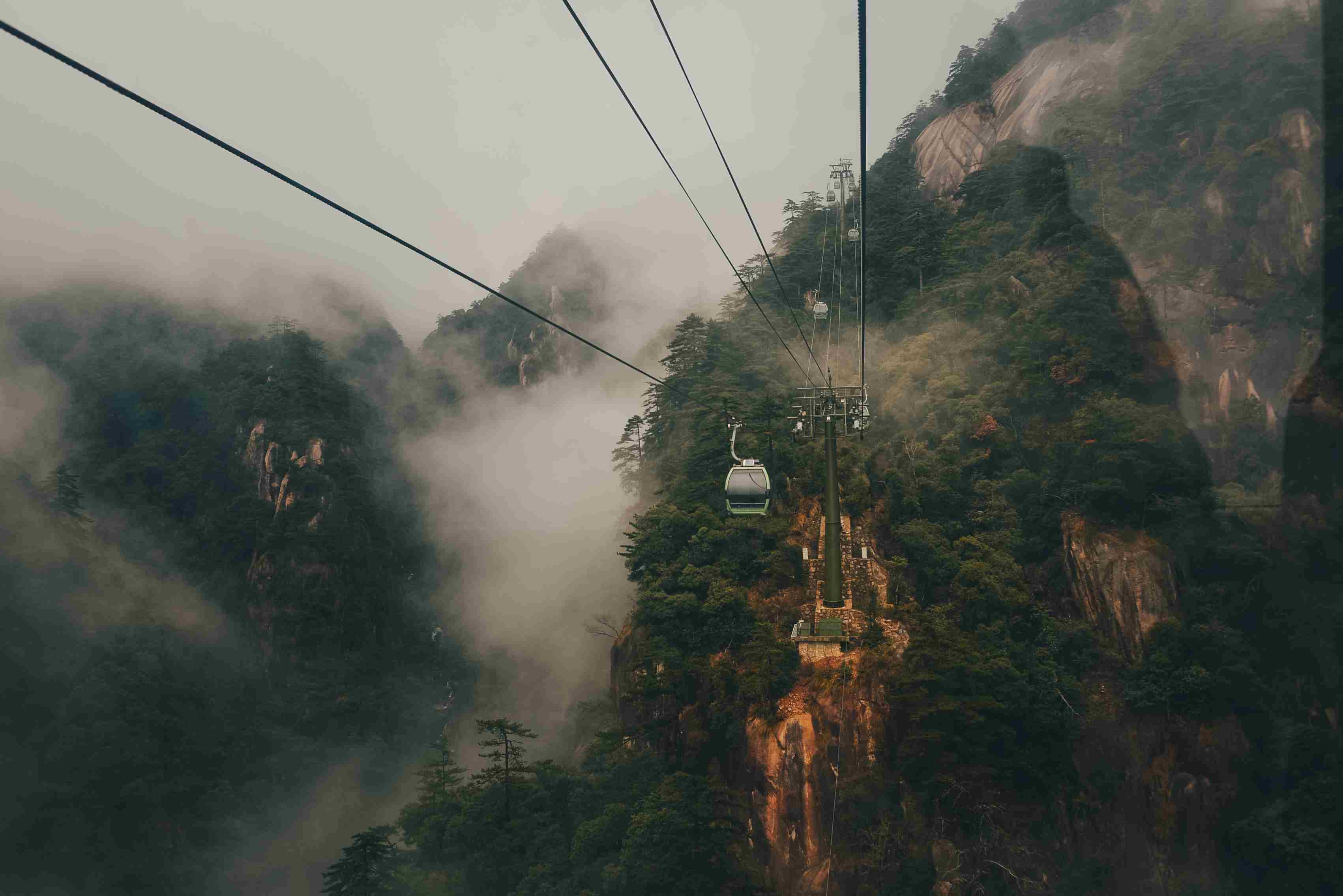 Cable cars on Huangshan Mountain, China